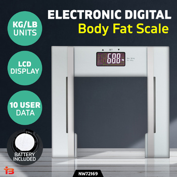 Digital Body Fat Electronic High-Quality Bathroom Glass Weight Scale - White