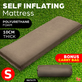 Single Size Self Inflating Matress Bed Mat Joinable 10CM Thick Coffee