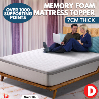 Double 7cm High Density Memory Foam Mattress Topper Bed Underlay Cover