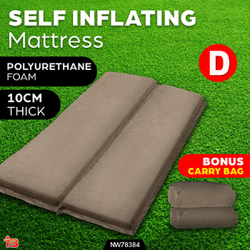 Double Self Inflating Mattress Camping Sleeping Mat Air Bed Pad Coffee 10CM