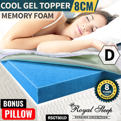 COOL GEL Memory Foam Mattress Topper Double BAMBOO Fabric Cover Pillow 8CM