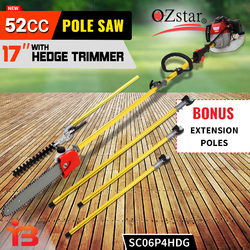 NEW 52CC Pole Chainsaw Brushcutter Hedge Trimmer Saw Pruner Brush Cutter Tree