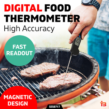 Digital Food Thermometer BBQ Cooking Temperature Probe Kitchen Magnet Sliver