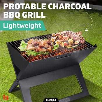 Portable Charcoal BBQ Grill Picnic Outdoor Camping Foldable Grills Barbecue Set